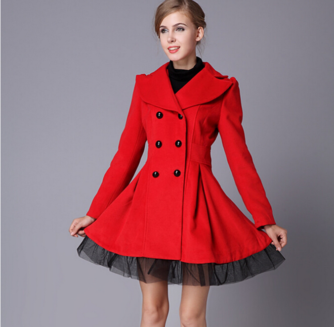 2015 new fashion winter coat women female overcoat popular double breasted Turn-down collar long wool coat(China (Mainland))