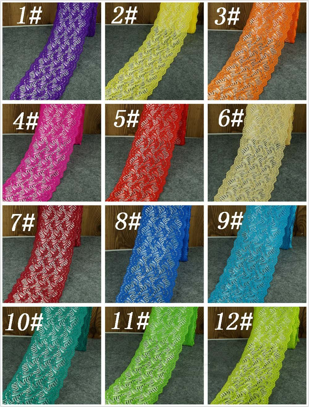 100 Yards/lot 18cm Multicolor Elastic lace ribbon trim 12 colors Lace Sewing Fabric Garment Accessories Trim Wedding Material