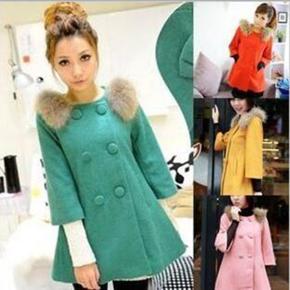Hot Sale New winter Fur collar Woolen coat Raccoon woolen coat Bow lovely woolen cape coat Women's casual fashion woolen coat(China (Mainland))