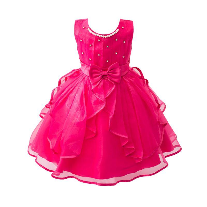 2016 Girls Dress Summer High-Grade Wedding Dresses Children Bow With Diamond Party Dresses Bridesmaid Dress Girl Kids Clothes(China (Mainland))