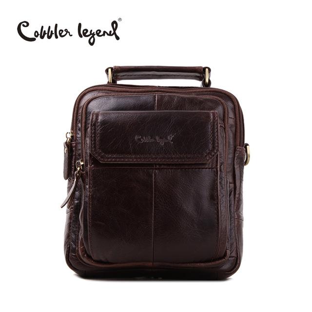 Cobbler Legend Men's Natural Cowskin Small Travel Bag Men Genuine Leather Vintage Business Messenger Shoulder Bag For Men 812215