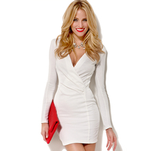 2014 autumn and winter European and American Slim stretch knit cross deep V-neck long-sleeved dress small shoulder pads haoduoyi
