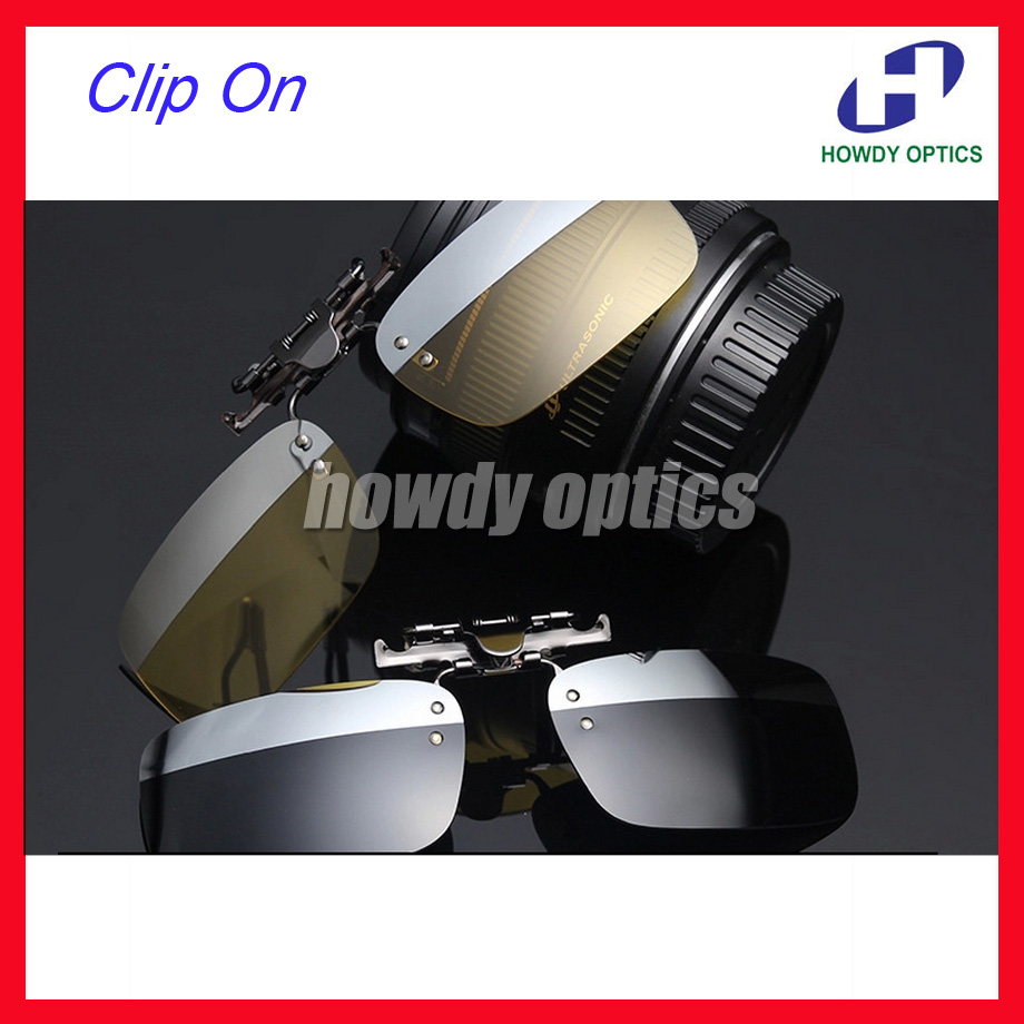 10pcs Free Shipping Driving Glasses Eyeglasses Sunglasses Polarized Clip On Sunglass With 2 Colors On One Lenses