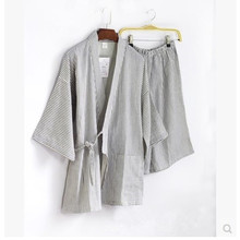 Cotton gauze kimono suit Sweat steaming clothes summer Half shorts lounge Pajama Set (China (Mainland))