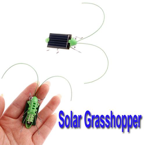 Hot Selling Mini Solar Energy Powered Child Toy Grasshopper Green Science 5pcs/lot,wholesale(China (Mainland))