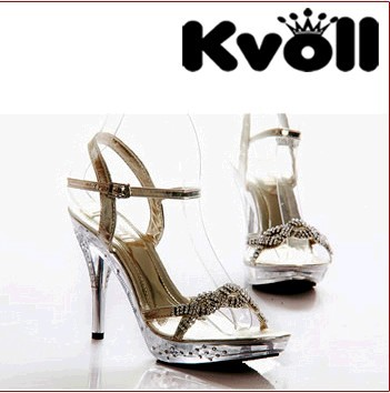 Fashion Women High Heels Kvoll Brand Summer Shoes Rhinestone Women Transparent Heels Women Stiletto Buckle Strap Sexy Shoes 88(China (Mainland))