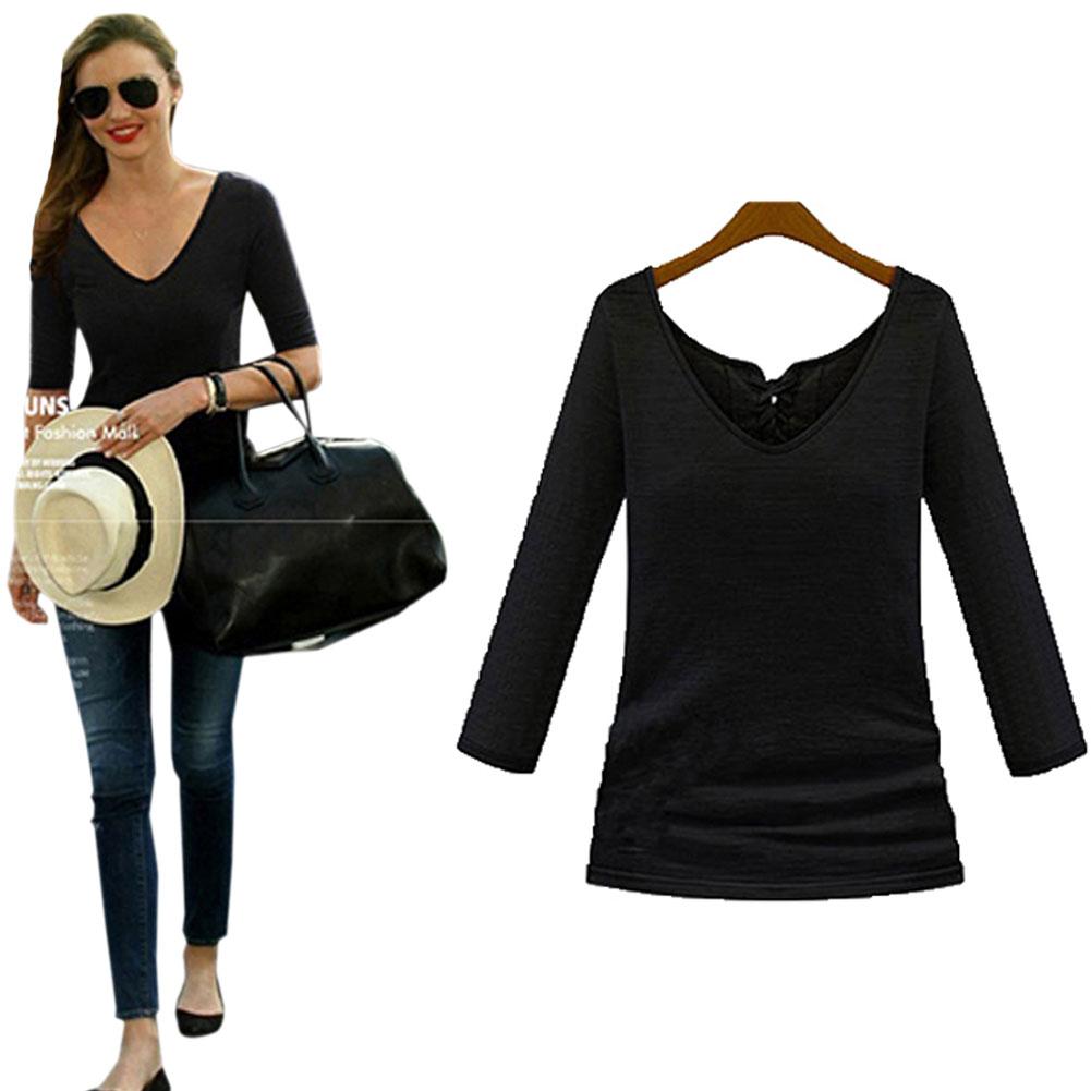 Tee t shirt womens long sleeve tops white black autumn for White long sleeve tee shirt womens