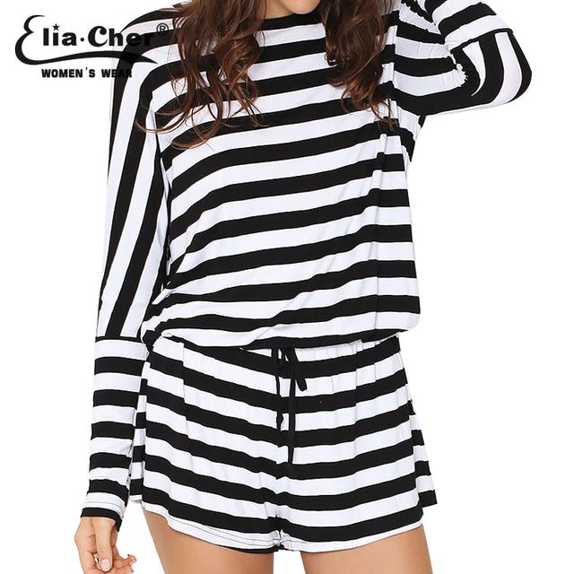 Elia Cher бренд лето 2016,  элегантные стильные чёрные и белые полосы сросшиес брюки ...
