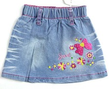 Girls A-Line skirts 2-6Y Baby floral sweet embroidery mini cotton denim skirt Free shipping  MH2358b