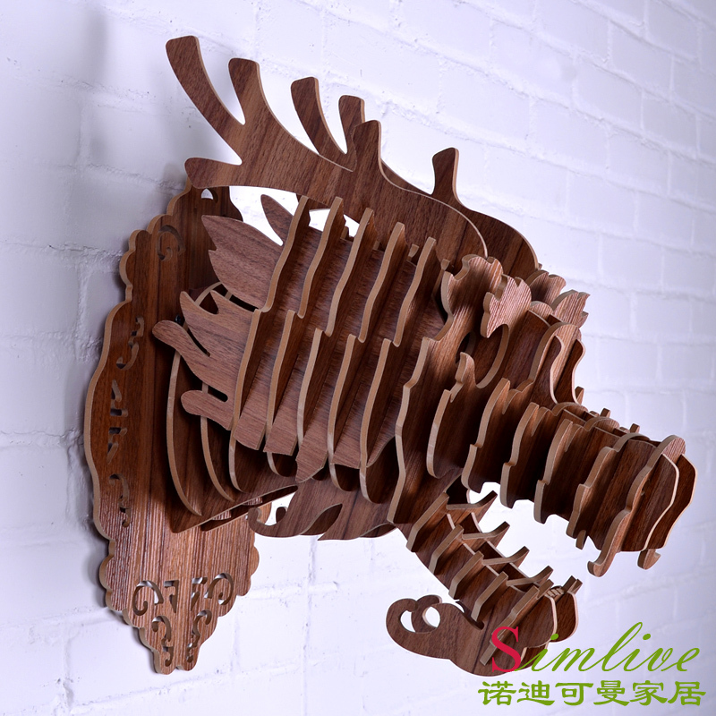 Buy DIY Wooden Dragon Head For Wall Decoration Chinese Dragon Wood