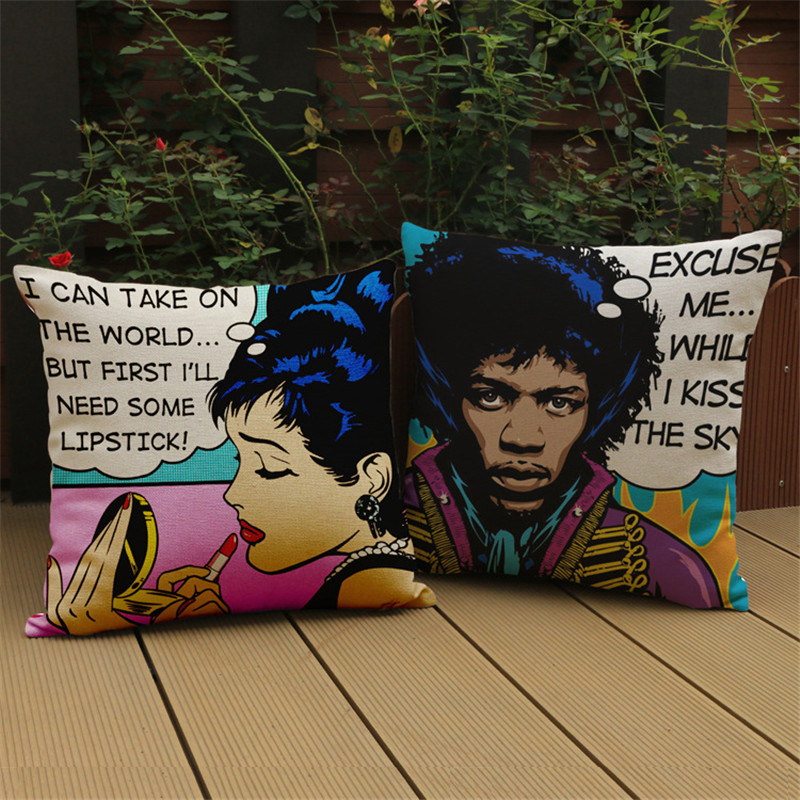 Free shipping Audrey Hepburn cartoon cotton Linen decorative cushion cover Sofa Throw Pillow Cover Chair Car