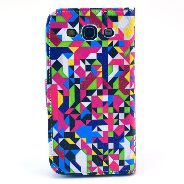 Color Geometric Puzzle Magnetic Flip PU Leather Wallet Card Stand Case Cover For Samsung Galaxy S3 III I9300 I535 Free Shipping(China (Mainland))