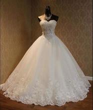 Real Image A Line Wedding Dress 2017 kurti jordans Sweetheart Lace Appliques Beaded Princess Vintage Garden jordans women bride(China (Mainland))