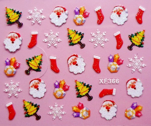 XF366 Free Shipping Brand 3D Design Tip Nail Art Christmas Nail Stickers Decals Carving Nail Art Decorations(China (Mainland))