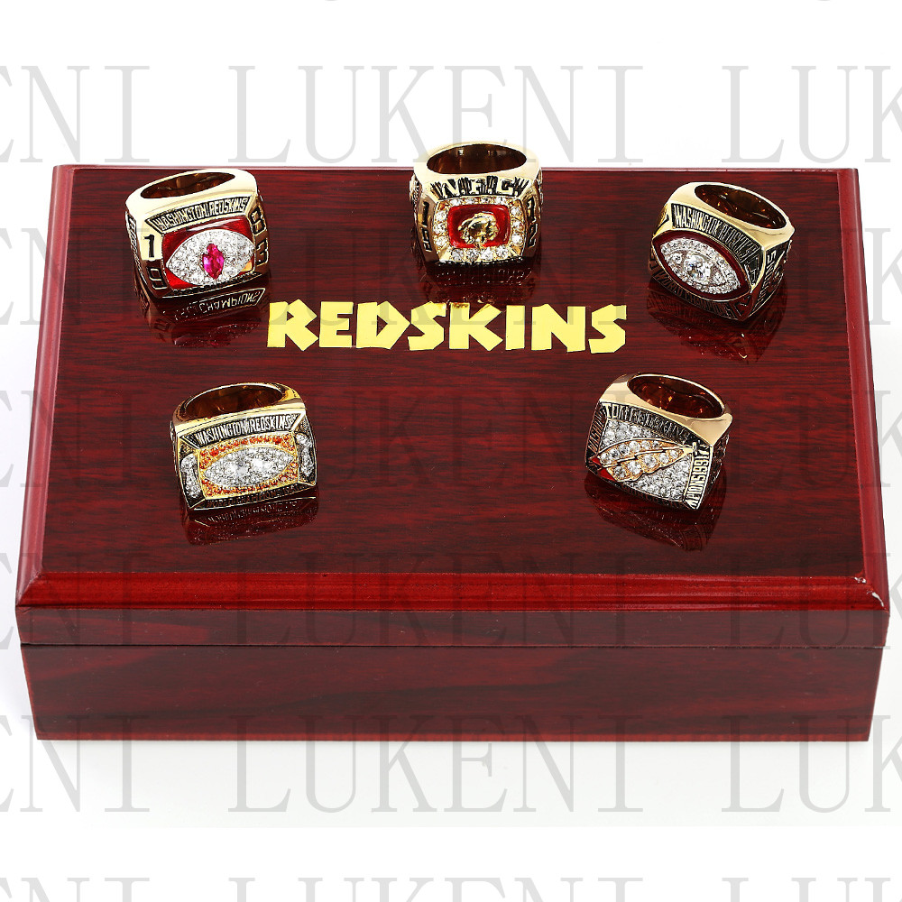 One set (5PCS) 1982 1987 1991 1972 1983 Washington Redskins Football Championship Ring With Wooden Box Replica Rings LUKENI(China (Mainland))