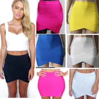 Bandage Rayon Good Elastic Women Skirts Mini Sexy Slim Pencil Clubwear Suitable Black Gray Rose Green HL135-2