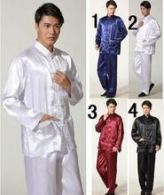 Handsome Chinese style Men's silk Kung Fu suit pajamas 4 colour  white, Navy blue, Black ,red(China (Mainland))