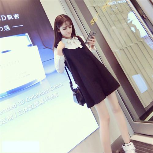 New White Shirt+Black Strap Dress for Pregnant,Solid Fashion 2pcs/set Women Pregnant Clothes,Maternity Dresses,Roupa Gestante<br><br>Aliexpress