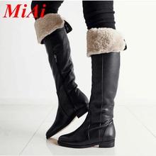 Nueva moda de cuero genuino zapatos de mujer de invierno botas altas hasta la rodilla zapatos de los planos de punta redonda cremallera negro botas de nieve del invierno para mujer(China (Mainland))
