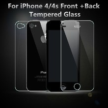 for iPhone 4/4s Front + Back Tempered Glass Rear Screen Protector 0.3mm 2.5D High quality 9H hardness Anti Shatter Film