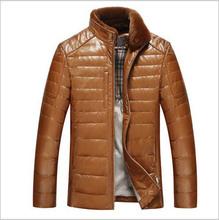 Genuine Leather Jacket Men Down Coat Natrual Collar Windproof Fashion Winter Coat Outwear Sheepskin Leather Fur Down Jacket Men(China (Mainland))