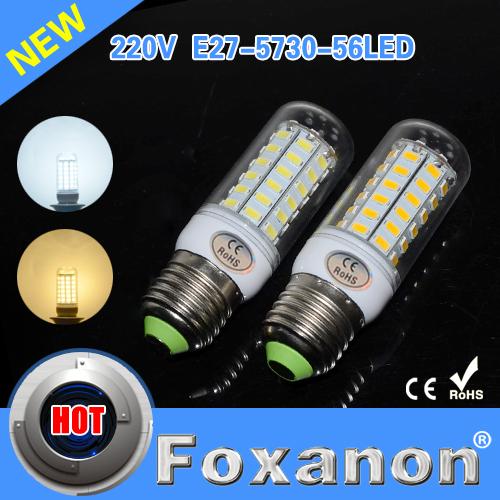 Lampada led Ultra bright E27 SMD Cree 5730 220V Led lights 56LEDs Max 18W Corn Bulbs lamps Candle Lighting 10Pcs/Lot(China (Mainland))