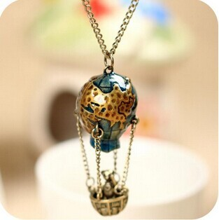 Min.order is $5 (mix order) Free Shipping Vintage Fire Balloon Chain Soar Earth Sweater earth balloon Long Necklace (ON0359)
