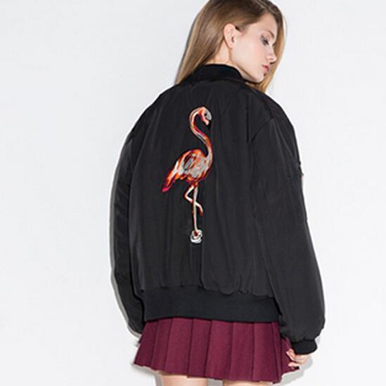 2016 Spring Women Baseball Coat Love Flamingos Embroidery Short Jacket Female Bomber Jackets Veste Femme Casual Outwear ZJ227(China (Mainland))