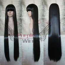Heat Resistant Anime party Fashion Heat Resistant long straight Black Anime cosplay party Wig 100cm