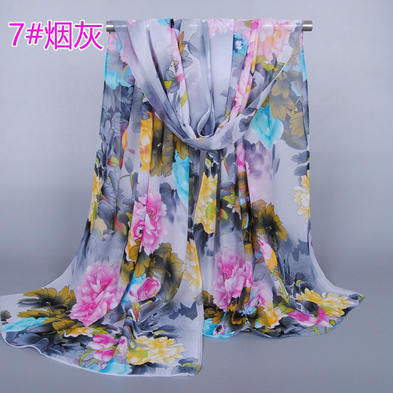 wholesale Girl fashion printe flower scarf/scarves chiffon silk beach summer muslim wrap shawls/scarf FZS15(China (Mainland))