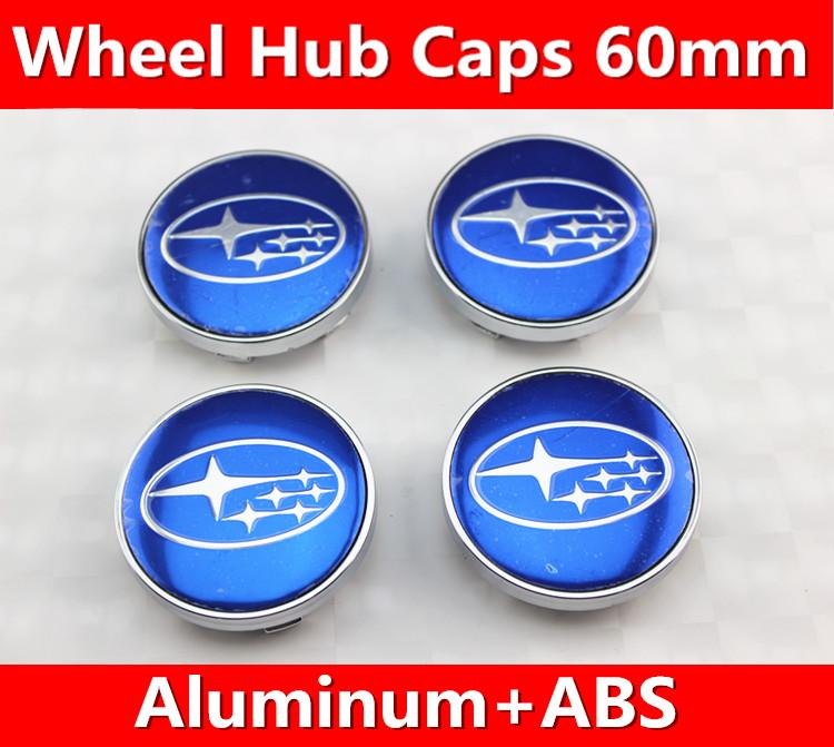4x BLUE STAR 60mm wheel center caps hub cover chrome car badges ABS for Forester Legacy Impreza XV STI(China (Mainland))