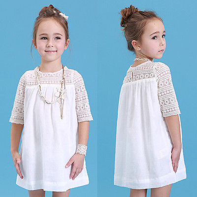 2016 New Kids Baby Girls White Chic Fairy Lace Floral Party Solid Gown Fancy Dresses Baby Summer Casual Dress Clothes(China (Mainland))
