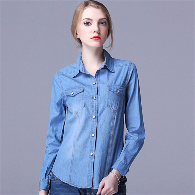 2015 autumn hot sale pearl button blue women denim blouse for Blue denim shirt for womens