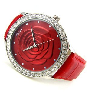 Romantic Christmas Gift_Gift Box_Three-Dimensional 3D Retro Rose_Quartz Women's Watch Red Flower and Crystal Wristwatch