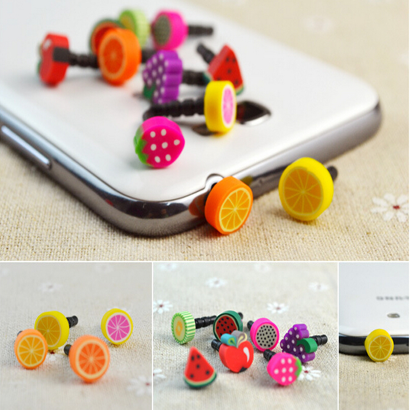 Funny Candy Fruit Mobile Phone Dust Proof Plug all phones for 3.5mm earphone plus 10pcs/lot Random colorful(China (Mainland))