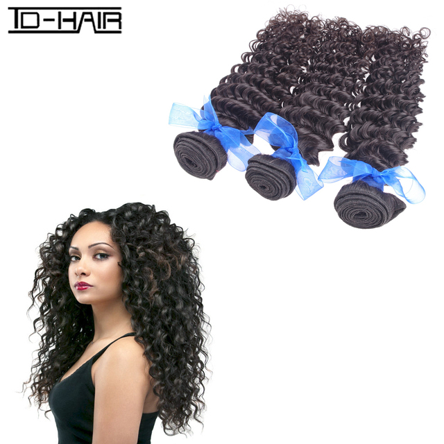 Cheap 5A Unprocessed Remy Indian Virgin Hair Extention Human Hair Deep Wave Curly Weave Bundles natural black color 1b# TD HAIR