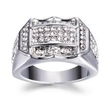 גבוהה באיכות קריסטל הכנס זכר גברים טבעת עסקים טבעת מתנת יום הולדת תכשיטי מתנה עדין Drop טבעות לגברים(China)