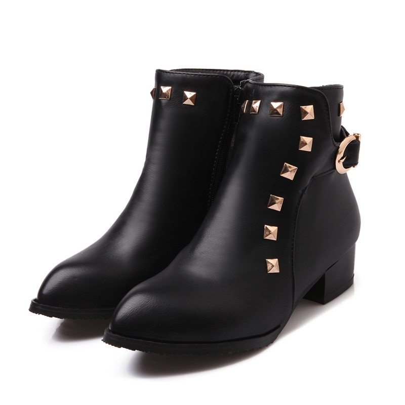 BIg size 33-47 women fashion rivets genuine leather ankle boots solid black brown pointed toe fur inside autumn shoes(China (Mainland))