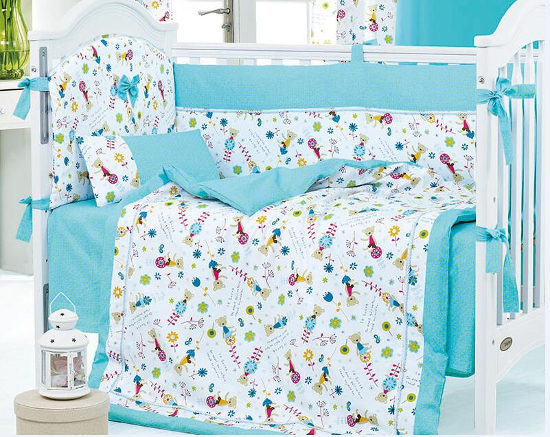 8 Pieces Crib Baby Bedding Set Blue Toy Bear Baby Nursery Cot Ropa de Cama Crib Bumper Quilt Fitted Sheet Dust Ruffle(China (Mainland))