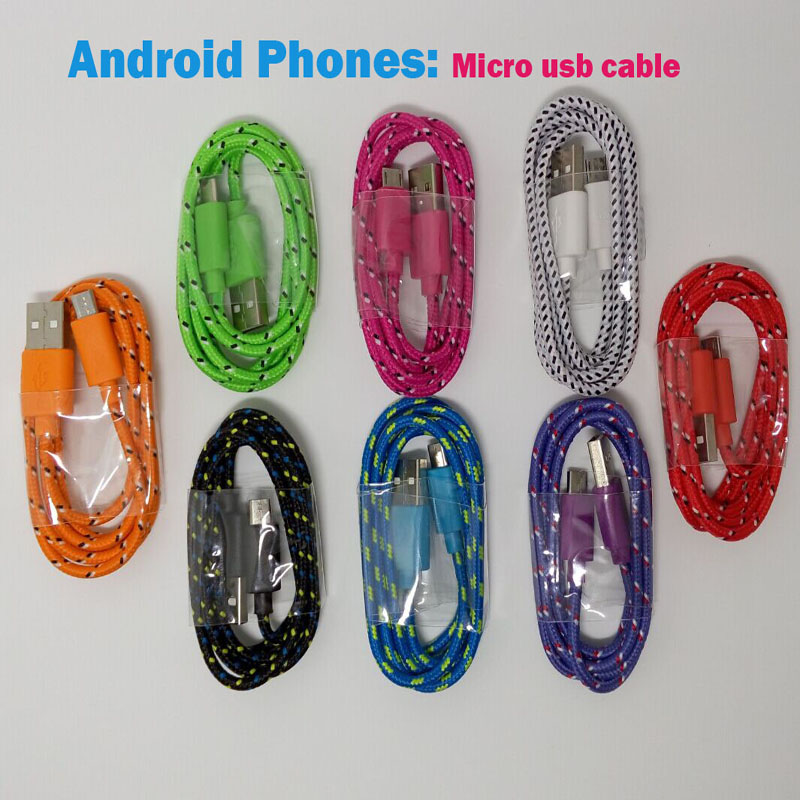 Nylon Micro usb Charger Cable data sync Cord Line for Samsung S7 S6 edge S4 S3 Note 2 4 5 HTC XiaoMi Huawei LG Lenovo Sony Nokia(China (Mainland))