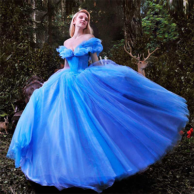 Blue Cinderella Wedding Dress
