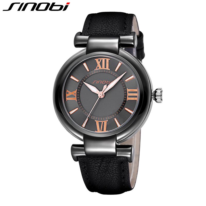 SINOBI 2016 New Brand Women Luxury Dress Watches Waterproof Leather Strap Fashion Quartz Watch Student Wristwatches
