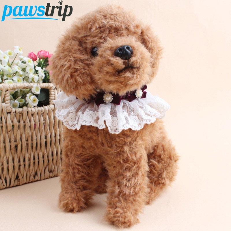 Cute Bow Lace Small Dog Collar Bling Pearl Princess Pet Cat Collar 1.0*55cm)(China (Mainland))