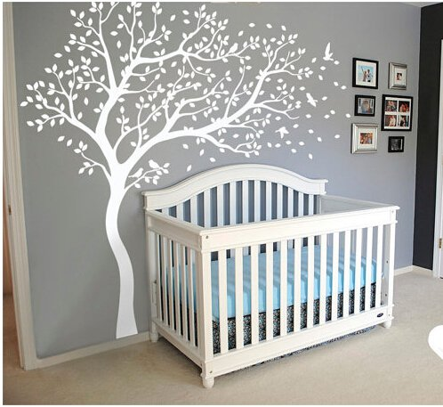 A045 white tree wall decal huge tree wall decal wall mural - Stickers x camerette ...