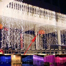 6m x 3m Led Waterfall Outdoor Fairy String light Christmas Wedding Party Holiday Garden 600 LED Curtain Lights Decoration EU US(China (Mainland))