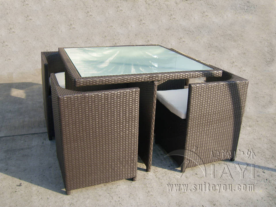 5 pcs All Weather Plastic Rattan Garden Dining Sets With Chair And Table transport by sea(China (Mainland))
