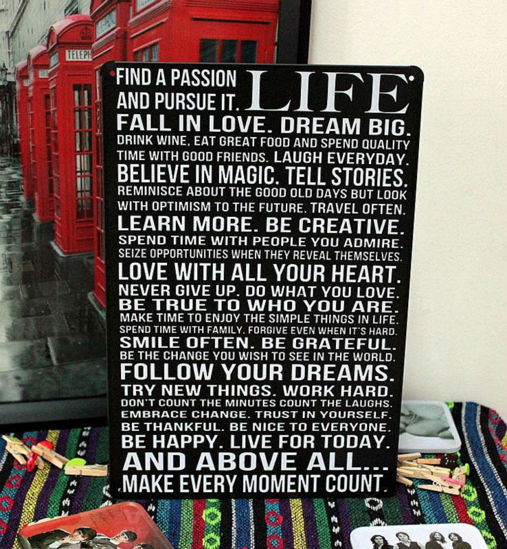 Free shipping! Vintage Tin Signs Life slogan metal poster retro home decor House Cafe Vintage Bar metal wall art Size 20*30CM