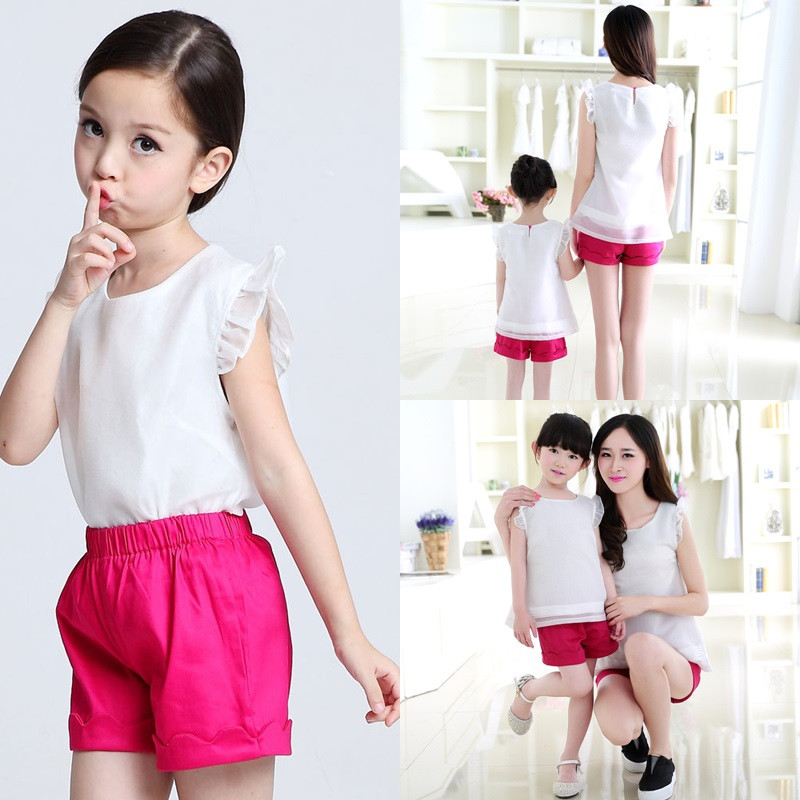 2016 Summer Family Matching Outfits sleeveless Chiffon T-shirt Women Kids Clothing Top Family Look Family fitted Mother Daughter