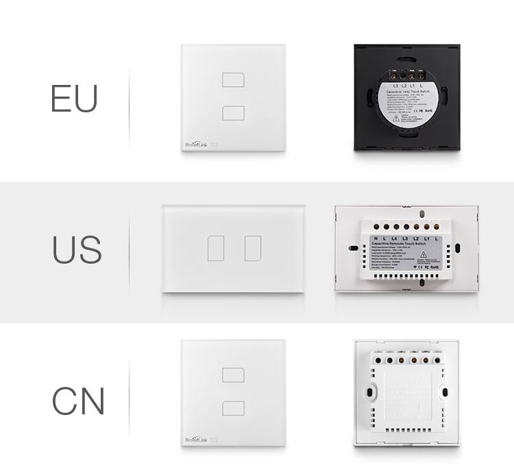 image for New Arrival EU Standard Broadlink TC2 Wireless 2 Gang Remote Control W