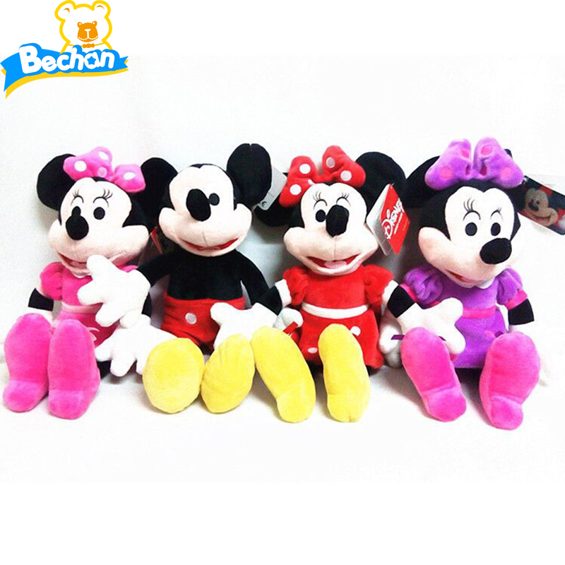 4pcs/set 2016 Hot Sale 30cm High Quality Mickey or Minnie Mouse Plush Toy Doll Soft Stuffed Toys for Birthday Christmas Gift(China (Mainland))